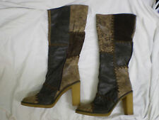 FAITH Brown Suede Leather Winter Womens Knee High Brighton Essex Boots Size uk 8
