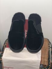 Salvatore Ferragamo Douglas Black Velvet Slipper Sneaker Shearling 10 EE NIB Fur