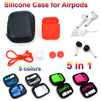 Earphone Pouch Holder Silicone Case Cover Anti Lost Strap For Apple AirPods