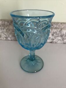 VINTAGE Double Wedding Ring BLUE GLASS WATER WINE GOBLET L G WRIGHT~ SMITH