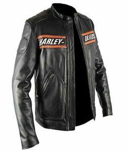 Harley Davidson Goldberg Biker Vintage Motorcycle Real Leather Jacket