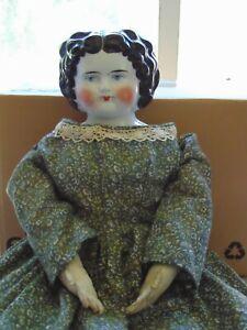 "Antique German 21""China Head Doll C1880 Bawo Dotter 10 Pat Dec 7/80 Leather Arm"