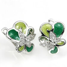 Natural White CUBIC ZIRCONIA Sterling 925 Silver Enamel Butterfly EARRINGS Cute