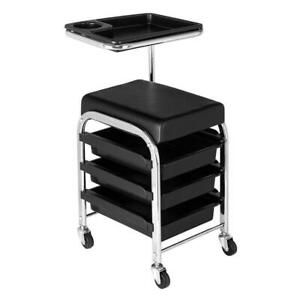 Rolling Pedicure Manicure Nail Cart Trolley Stool Chair Salon SPA Storage Tray