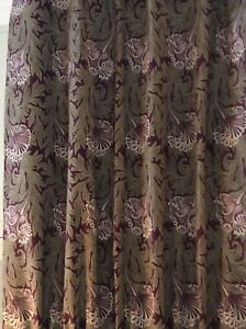Wide William Morris Tulip fabric Curtains Blackout 2 pr av can be interlined