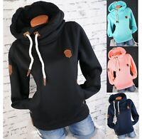 Damen Sweatshirt Hoodie Kapuzenpullover warmer Fleece UNI Pulli S M L XL 2XL 3XL