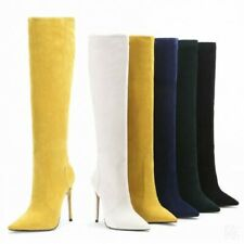 Womens Sexy Knee High Thigh Boots Pointed Stilettos Heels Fashion Pull On Shoes