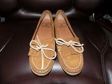 Lucky Brand Brown Suede Moccasins Size 6.5 Women's EUC FREE USA SHIPPING