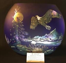 "Fenton Art Glass ""Freedom Soars"" On Cobalt Faverene Oval Vase LIMITED EDITION"