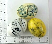 LOT OF 3 MARBLE STONE ALABASTER DECORATIVE PAINTED EGGS 2 painted 1 ITALY