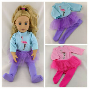 FLAMINGO BALLERINA TUTU OUTFIT FITS OUR GENERATION / AMERICAN GIRL DOLL CLOTHES