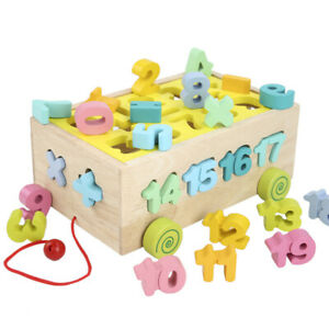 Wooden Educational Toys Montessori Block Toys Pull Along Car Kids Baby Toddler
