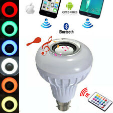 B22 LED 110-240V RGB Bluetooth Speaker Bulb Wireless 12W Music Playing 10m Range