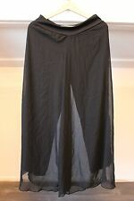 Black Empire Wide Leg Pants Stretch Waist Sheer Overlay M/L