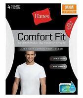 4-Pack Hanes Men's Comfort Fit Crewneck Undershirt T-Shirt - White - Sizes S-XL