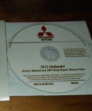2012 MITSUBISHI OUTLANDER SERVICE MANUAL & 2007 BODY REPAIR DATA ON CD