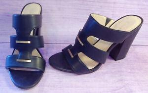 Calvin Klein SHAY Womens Black Open Toe Mules High Heel Shoes Size 7.5 NARROW