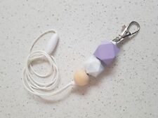 Handmade Lanyard - Lightweight wooden beads PURPLE & MARBLE