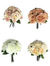 7 Artificial silk Head Rose Bush Bundle Wedding Bouquet Buttonhole flowers