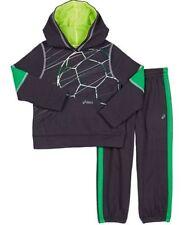NEW ASICS Boy's Hooded Jacket Sweat Pants 2 Piece Set Steel Grey/Soccer 3T