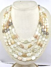 NATURAL MULTI MOONSTONE BEADS CABOCHON 5 LINE 950 CTS GEMSTONE LADIES NECKLACE