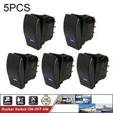 5PCS ROCKER SWITCH Toggle ON-OFF-ON 7PIN Blue Light DPDT LED Waterproof BOAT CAR