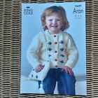 King Cole 2849 aran 18 to 24 inch sweater cardigan and bag knitting pattern