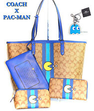 COACH X PACMAN Limited Tote Bag Pouch Cosmetic Case Wallet & Key Chain 5pc Set!
