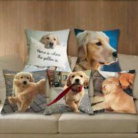 Cushion Cover Golden Retriever Linen Pillows Dog Printed Sofa Home Decoration