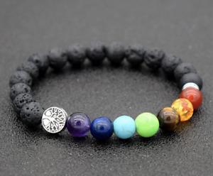 Tree of Life Anxiety Stress Relief Chakra Black Lava Gemstone Bead Bracelet