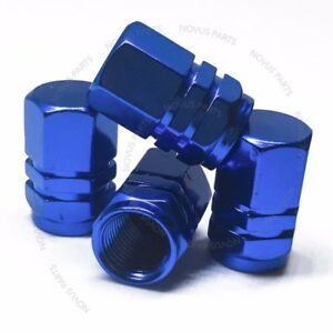 For Lincoln Navigator Town Car MKX Hexagonal Valve Stem Cover Blue 4pcs Fits All