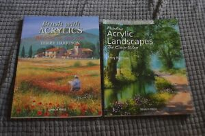 Terry Harrison 2 Book Lot Brush With Acrylic Landscapes Painting Instruction