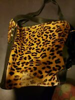 Large MARINO ORLANDI Leather Shoulder Bag Sling Bucket Bag - Leopard