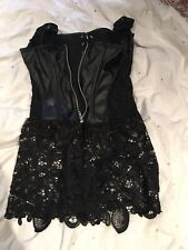 Black Corset Top With Lace And  Front Zip UK S UK 6 8