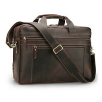 "Mens Leather 17""Laptop Briefcase Carry On Luggage Handbag Messenger Shoulder Bag"