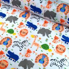 Polycotton Fabric Kids Cartoon Zoo Animals