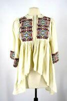 Aqua Women's Boho Embroidered hook closure top 3/4 Sleeve Ivory Sz XS New 2126