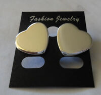 NEW Beautiful 925 Sterling Silver Heart Stud Round Pierced Earrings