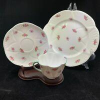 SHELLEY tea cup saucer plate Rosebud 13426 pink rose pattern dainty teacup trio
