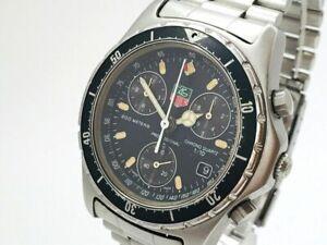 TAG HEUER Watch 570.206 Black Men's  Quartz St.Steel Chronograph Date   T3447