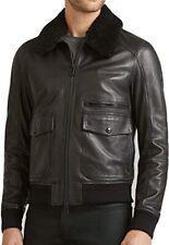 Belstaff Men's Hallington Black Leather Bomber Jacket Shearling Collar