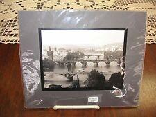 "Bridges in Prague - Matted Black & White Photo/Print 7 1/2"" x 9 1/8"""