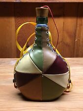 Vintage Leather~Wrapped Wine Bottle~Viresa Green Glass~Italy