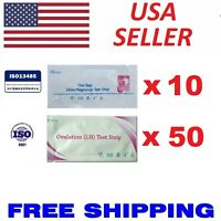 Pack of 50 LH Ovulation Test Strips + 10 HCG Pregnancy Test Strips