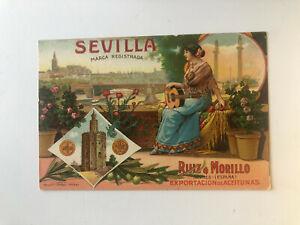 Cartolina Pubblicitaria Esportazione Aceitunas Ruiz Morillo Siviglia c13