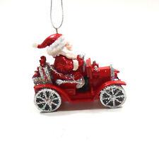 Kurt Adler Red and White Santa Driving a Jelopy Car Christmas Ornament