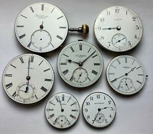 Lot of 7 Antique American and European Pocket Watch Movements with Dials