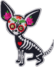 39202 Dia de los Muertos Chihuahua Day of the Dead Dog Sugar Skull Iron On Patch