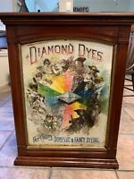 """Antique DIAMOND DYES Store Counter Cabinet Tin & Wood """"Evolution Of Woman"""" C1890"""