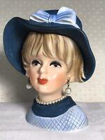 "Vintage Napcoware Head Vase Lady C7494, Dark & Light Blue Hat/Dress, Pearls, 6"""